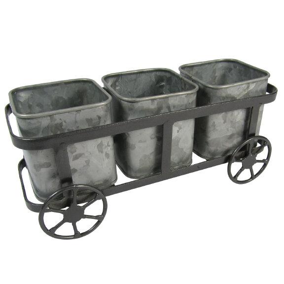 Planter Cart with 3 Galvanized Pots