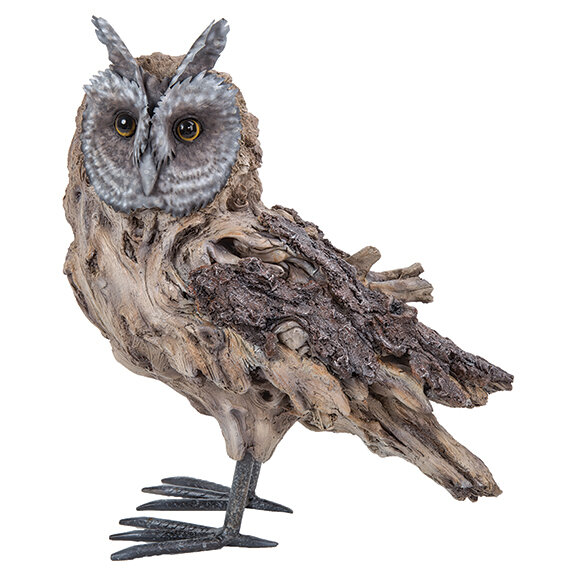 Driftwood and Metal Long Eared Owl