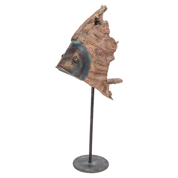 Driftwood and Metal Fish with pedestal